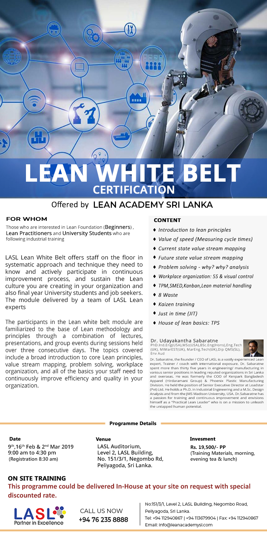 Lean White Belt Certification 5th Batch - 09th Feb 2019