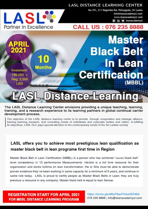 Master Black Belt in Lean [MBBL] / Lean Sensei